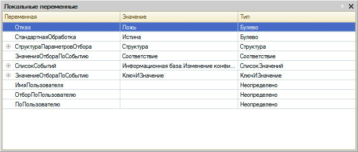 """Окно """"Локальные переменные"""""""